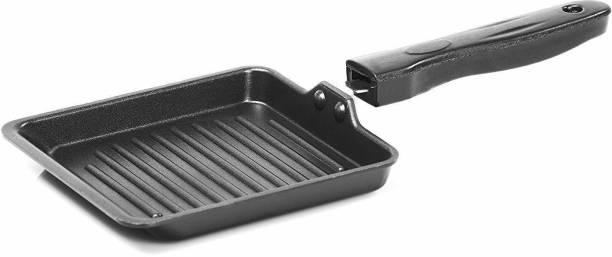 DEZEEN Non Stick Aluminium Mini Grill Pan/Toast Pan/Garlic Bread Pan, 13cm Diameter LPG Stove Compatible Only Grill Pan 13 cm diameter
