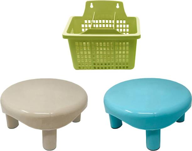 Inddus Home Premium Plastic Strong Round Stool with Multipurpose Cutlery Stand (2 Stool and 1 Stand) Bathroom Stool
