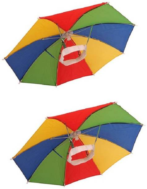 Vegmine RL-3 Hands Free Umbrella Hat to Protect from Sun & Rain for School Going Kids and Adults . Umbrella (PACK OF 2) (Multicolor) Umbrella