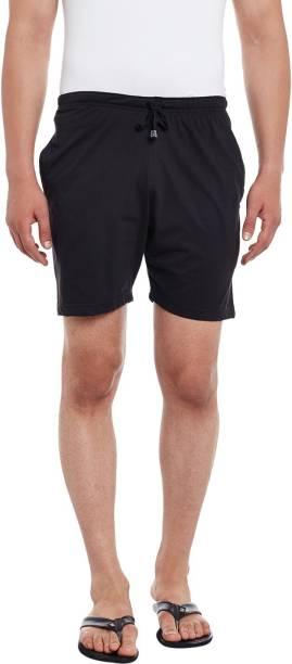 3SIX5 Solid Men Black Regular Shorts