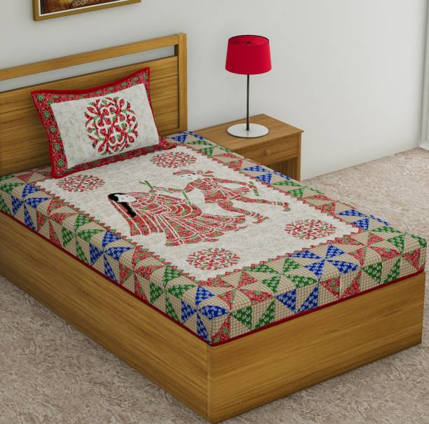 Homeline 104 TC Cotton Single Jaipuri Prints Bedsheet