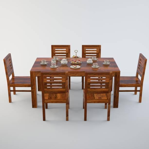 Allie Wood Sheesham Wood Solid Wood 6 Seater Dining Set