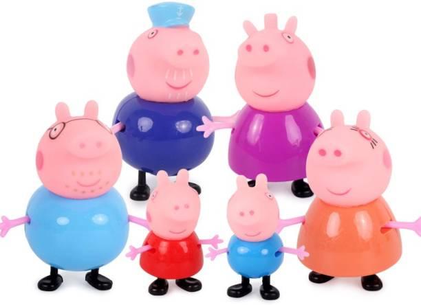 P s retail Cute Mini Pig Family Figurines- Action Figure Toy- (6 pcs/Set)