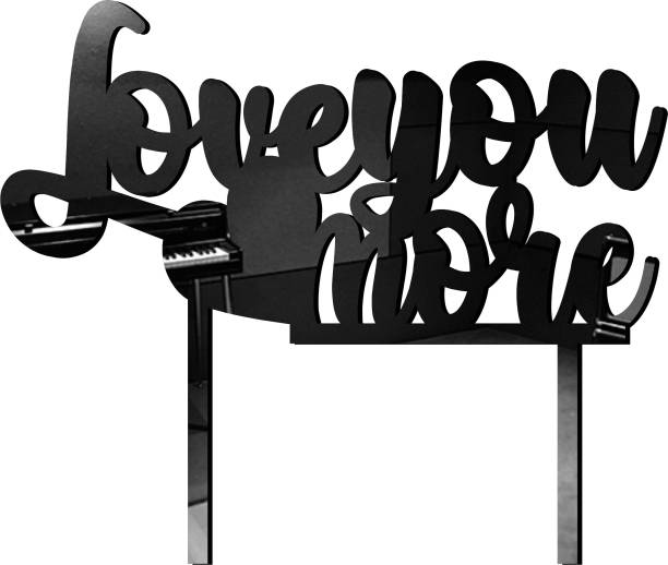 """Creatick Studio """"Love you more"""" Cake Topper / Cake Decoration Item / Special Cake Decoration for Kids Wife Husband Friend cousin - Pack of 1 Cake Topper"""