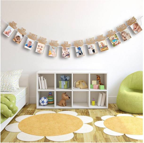 Balloons Baby 12 Months Bunting Garland Photo Banner for First Birthday Decorations 12 Poster Frames 1-12/1st Birthday Banner/1 Year Old Decoration for Boys & Girls Banner