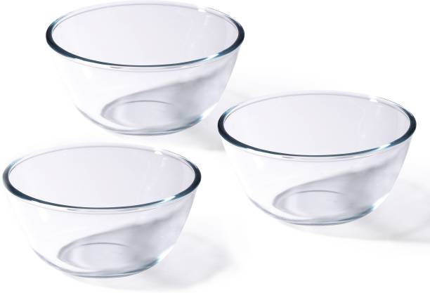 Renberg Borosilicate Glass Mixing Bowl Set-500 ml + 1000ml + 1600ml (RBIN-15011) Borosilicate Glass Mixing Bowl