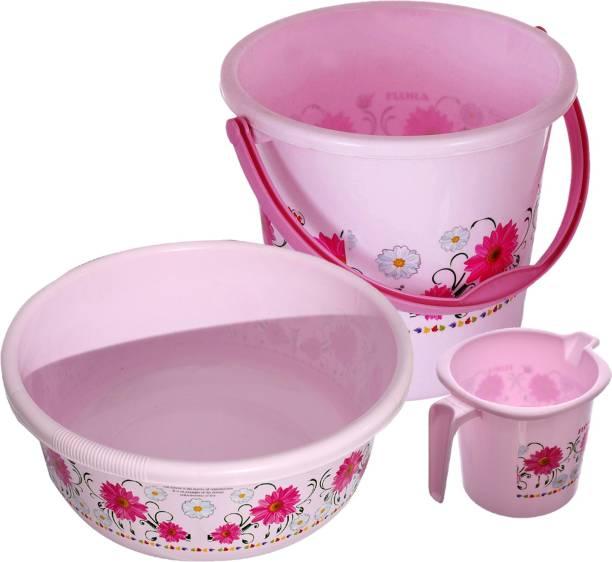 KUBER INDUSTRIES Floral Print Bathroom Bathing Set of 3 Piece with Plastic 18 Ltr Bucket,1 Ltr Mug, 40 Ltr Bath Tub (Pink)-KUBMART1272 18 L Plastic Bucket