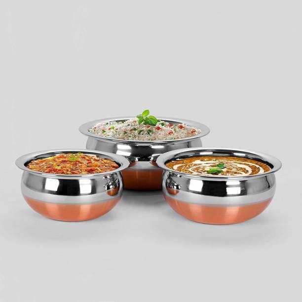 RBGIIT Perfect Copper Handi Set for Everyday Use Whether you want to cook a delicious serving of your favourite sabzi or heat leftover curries from the previous day, the 3 Piecs copper handi set, Prabhu Chetty, Curved Copper Plate at Bottom, Best Quality Stainless Steel Copper Bottom Handi Pot Set, Brown & Steel, 3 Pic Handi Copper Vegetable Bowl ,Cooking Dinner Table Serving Biryani Pot Handi Kadhai , Panikarilikka Steel Handi 3 Pices Sets Handi Stainless Steel Stainless Steel Disposable Serving Bowl