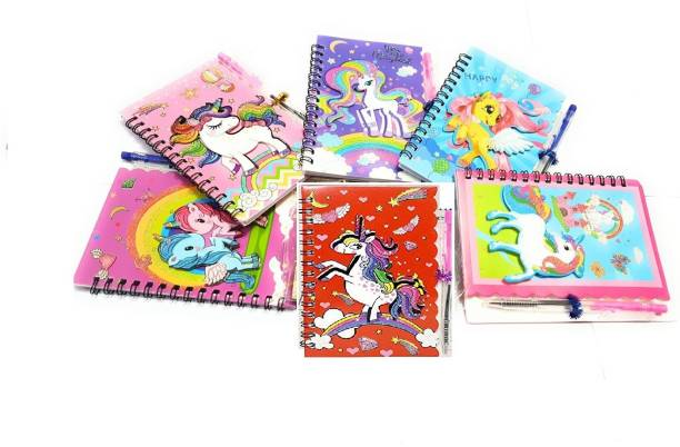 Giftshub Colourful Spiral bound Unicorn 3D with pens A6 Diary Ruled 40 Pages