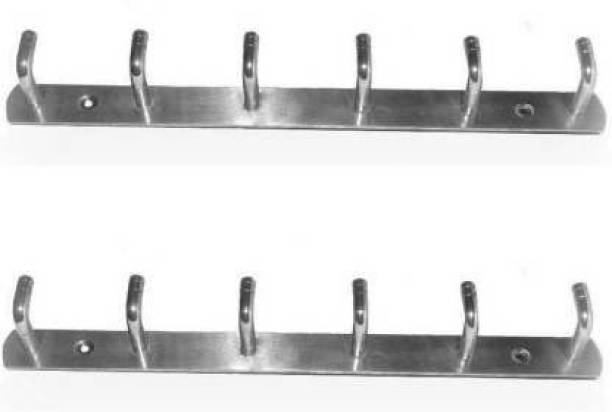 Rishikansh WALL HANGER SIMPLE L SLIM SHAPE HANGER 6 PIN. (PACK OF 2) Door Hanger