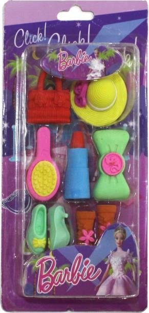 DevSena Crafts A Set of colourful 7 barbie Erasers Non-Toxic Eraser