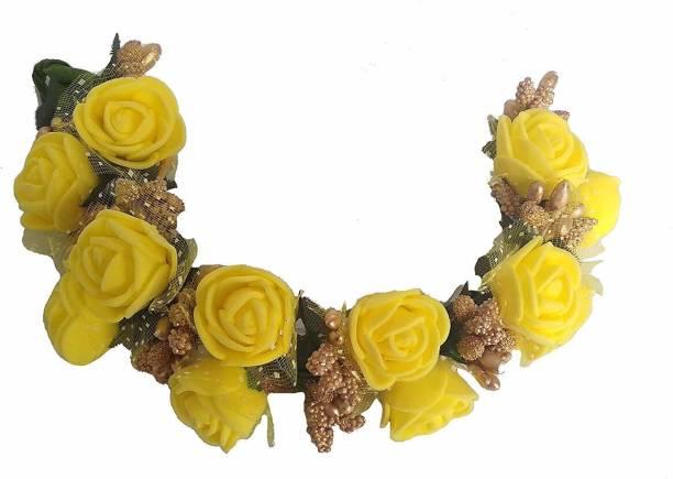 SP Fancy yellow Fabric Hair Gajra, Flower Juda Gajra Bun Clip