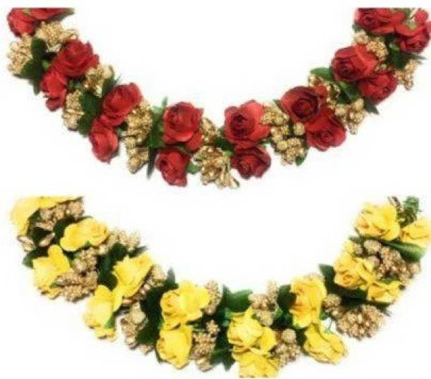 SP red n ye;llow Fabric Hair Gajra, Flower Juda Gajra Bun Clip