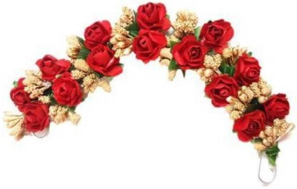 SP red Fabric Hair Gajra, Flower Juda Gajra Bun Clip