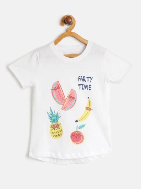 YK Organic Girls Printed Pure Cotton T Shirt
