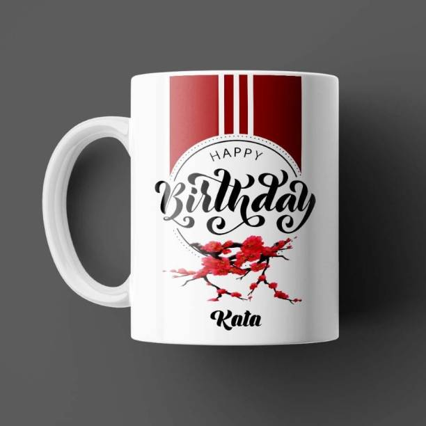 Beautum Happy Birthday Kata Name White Ceramic Coffee Model:BHYBD009221 Ceramic Coffee Mug