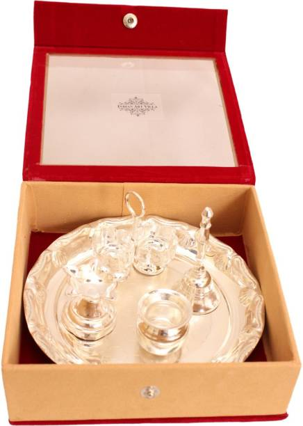 IndianArtVilla IndianArtVilla Silver Plated 5 Piece Pooja Thali Set with Gift Box - Workship Gift item Decorative Home Office Showroom Silver Plated