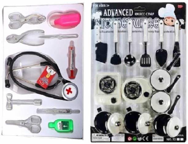BVM GROUP COMBO PACK Chef Kitchen Set & Doctor Playset (Multicolor) For Girls/ written gift