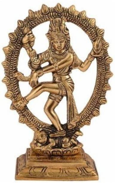WELLWISHERS CRAFT Metal Oval Natraj Statue for Home Decor Gold Plated Dancing Shiva Natraja / Natrajan Murti Decorative Showpiece  -  18 cm