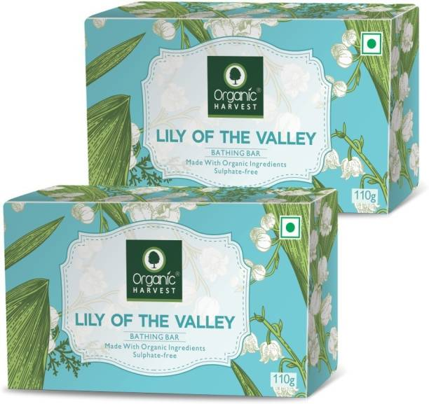 Organic Harvest Lily of The Valley Bathing Soap | Moisturizes & Revitalizes Skin | Organic Soap Base | Freel All Skin l Daily Use (110 gm Pack of 2)