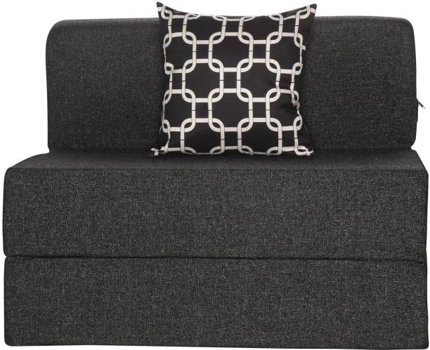 Solis Primus-comfort for all 3X6 size Sofa cum Bed for 1 Person- 1 Seater Jute Fabric Washable Cover with 1 Cushion(Multi Chain Pattern)- Dark Grey Single Sofa Bed