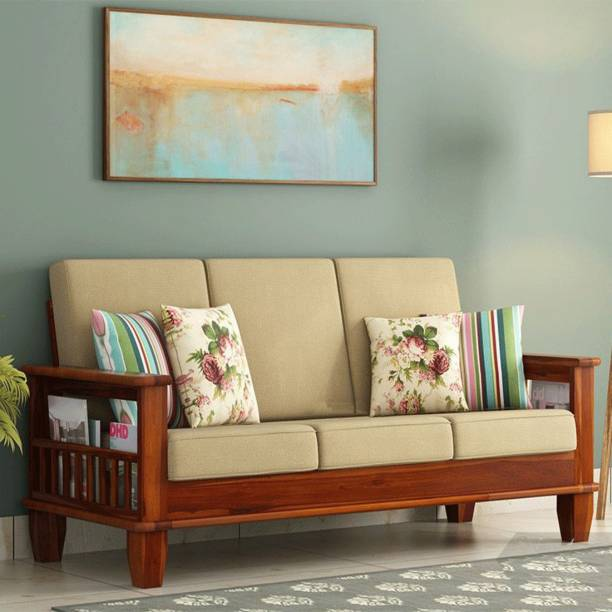Kendalwood Furniture Solid Wood 3 Seater Wooden Sofa set for living Room Furniture Fabric 3 Seater  Sofa