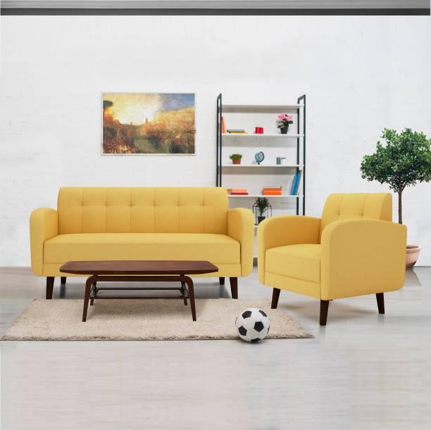 ARRA Rome Tufted Back Fabric 3 + 1 Yellow Sofa Set
