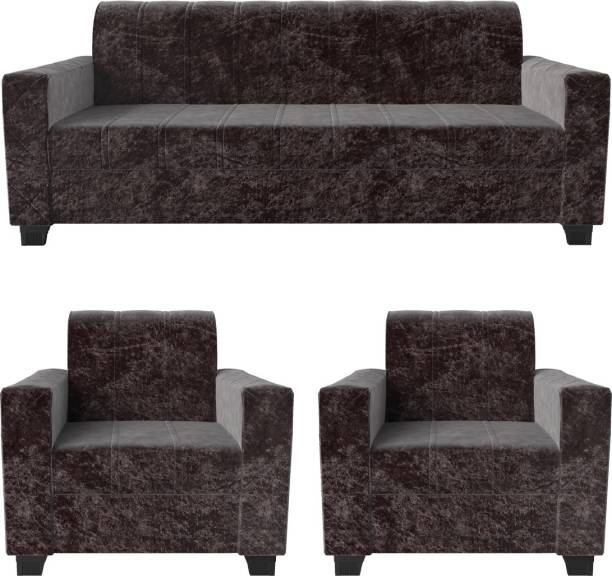 Rajgarhwala Furnitures RF 806 Fabric 3 + 1 + 1 Brown Sofa Set