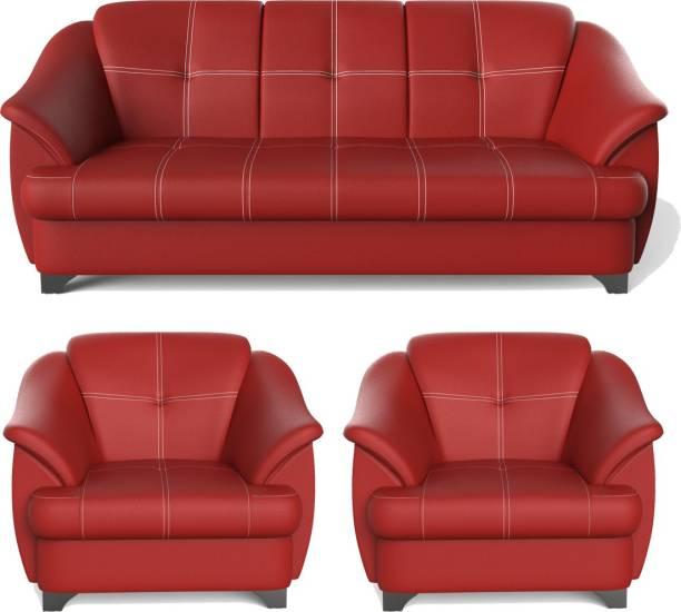 Rajgarhwala Furnitures Gayana Leatherette 3 + 1 + 1 Red Sofa Set