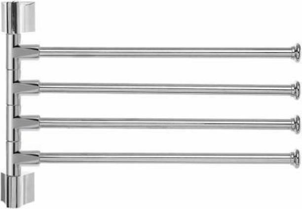 Filox Stainless Steel 4-Arm Bathroom Swing Hanger Towel Rack/Holder for Bathroom/Towel Stand/Bathroom Accessories 12 inch 4 Bar Towel Rod