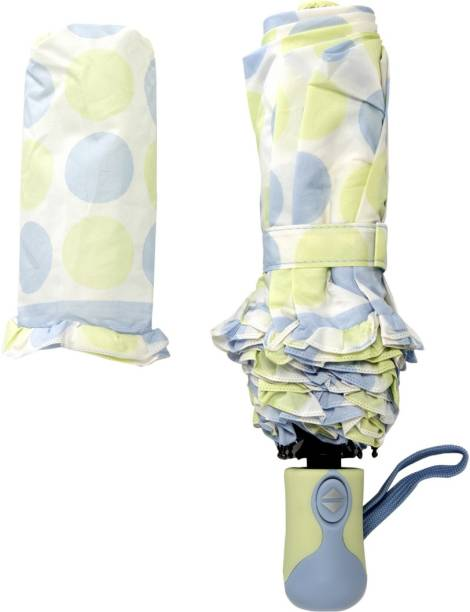 Emblazon 3 -Fold Auto Open and Close Polka Dot Print With Ruffled Edge Umbrella