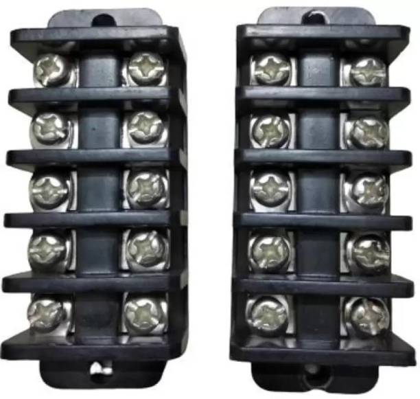 M S control 40 A Bakelite Open Connector 5 Way Screw Terminal Block Terminal Connection Wires (Pack of 2) 5 Way Connector Open Bakelite Wire Connector (Black, Pack of 2) 5 Way Wire Connector Open Bakelite Wire Connector