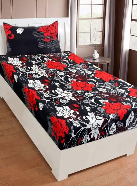 Panipat Textile Hub 120 TC Microfiber Single Floral Bedsheet