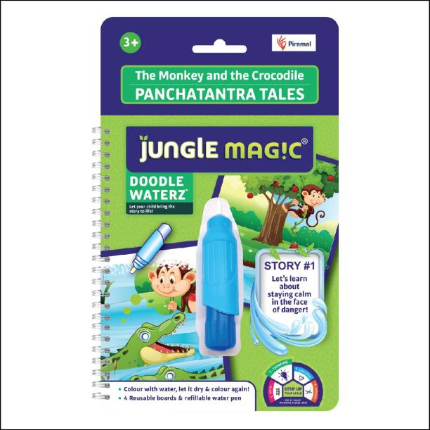 Jungle Magic Doodle Waterz Panchtantra Tales - The Monkey and The Crocodile (Reusable Water-Reveal Colouring Book with Water Pen)