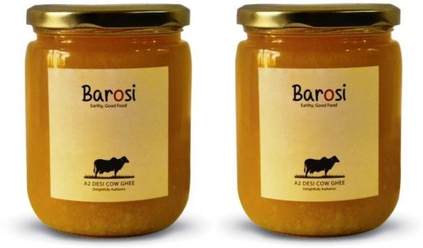 barosi A2 Desi Cow Ghee Combo of 2, Produced from Grass-Fed Desi Cow Milk, Natural and Pure, Premium Glass Packaging Ghee 1000 ml Glass Bottle