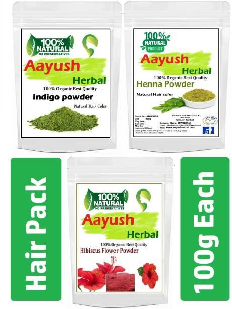 Aayush herbal INDIGO+HENNA+HIBISCUS POWDER 100% NATURAL for HAIR Color/Hair Growth(100g Each) Combo pack