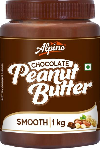 ALPINO Chocolate Peanut Butter Smooth 1 KG | Made with Roasted Peanuts, Cocoa Powder & Choco Chips | 20% Protein | Non GMO | Gluten Free | Vegan | 1 kg