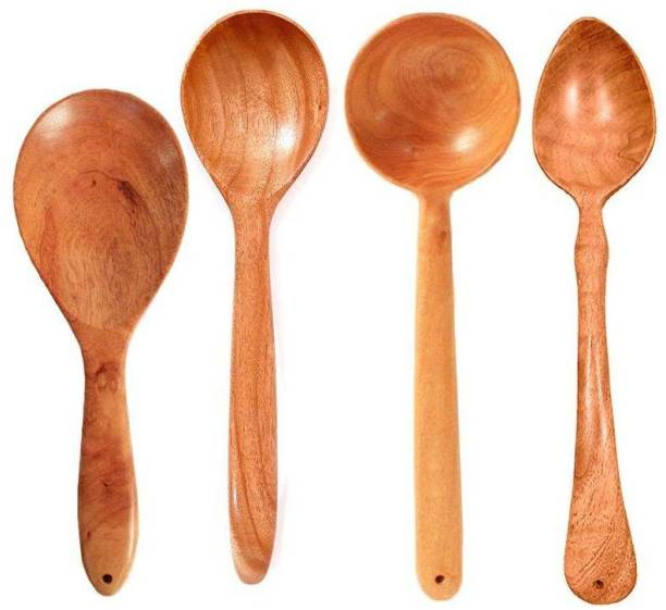 Tora Creations Set 4 Neem Wood Spatulas for Cooking & Serving Wooden Ladle ( Set of 4 ) Kitchen Tool Set