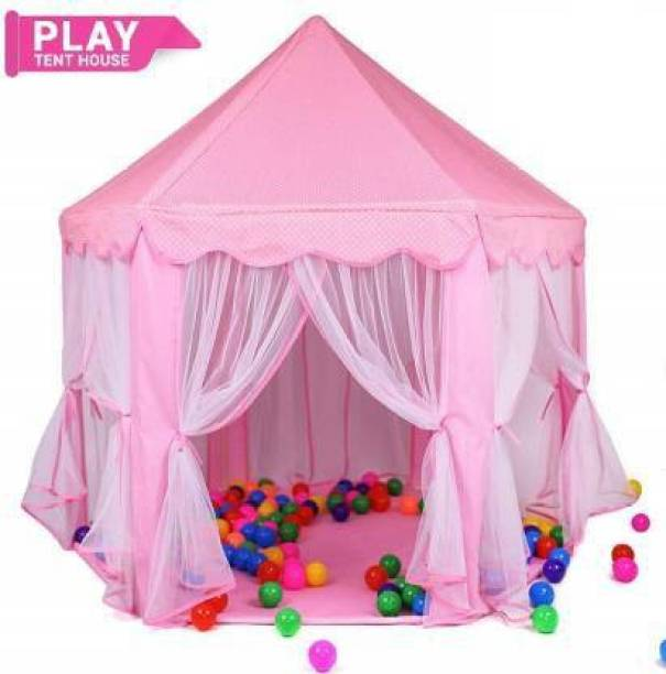 MUMMY N ME Premium Hut Type Kids Play Tent House , Play Zone , Play House , Play Castle,for Indoor and Outdoor(Without Balls) (Pink)