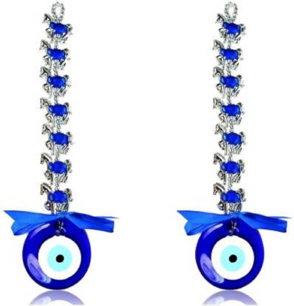 ASTRUMS Hanging Evil Eye 7 Seven Horse Evil Eye for Car Pack of 2 Decorative Showpiece - 23.5 cm (Aluminium, Glass, Plastic, Blue, Silver) Decorative Showpiece  -  23.5 cm