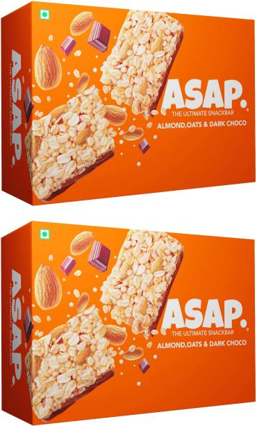 ASAP Granola Bar Dark Choco Offer Combo| 2 x Pack of 6 Energy Bars with Rolled Oats, Roasted Almonds & Dark Choco | Wholegrain Oats & Nuts Bar rich in Fibre & Vitamins | High Protein | Healthy Snack bar with no added preservatives | No added colour