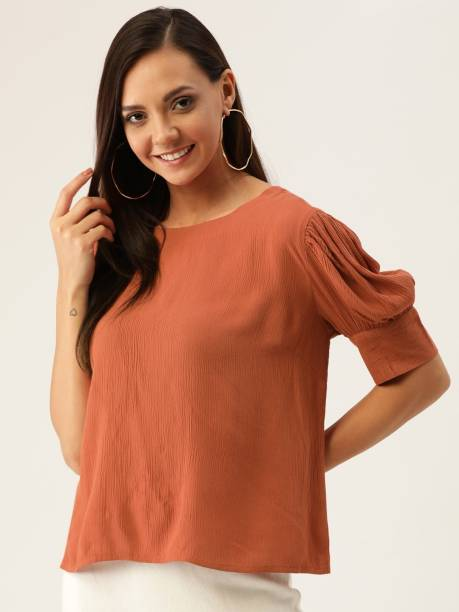 Dressberry Casual Short Sleeve Solid Women Brown Top