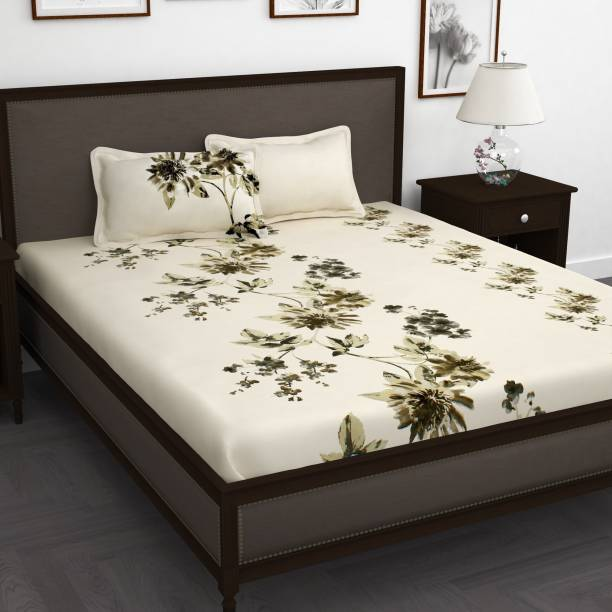 Story@home 210 TC Cotton King Floral Bedsheet