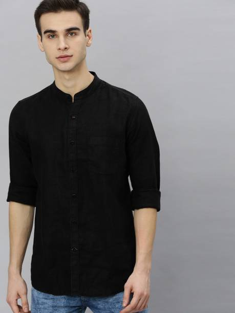 MAST & HARBOUR Men Solid Casual Black Shirt