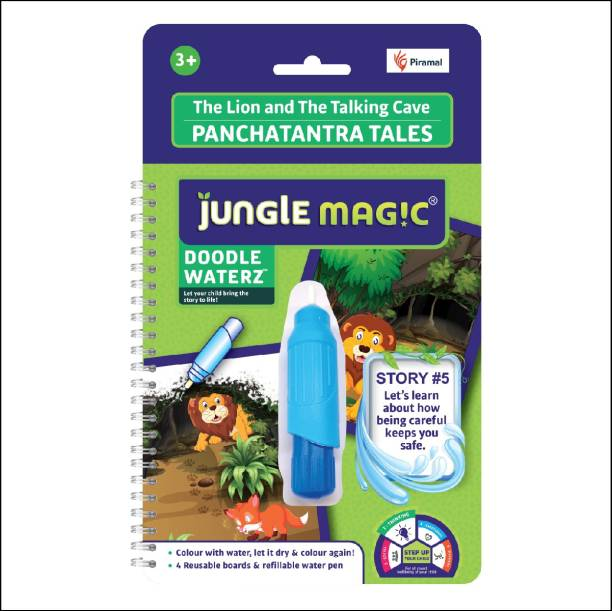 Jungle Magic Doodle Waterz Panchatantra Tales- The Lion and The Talking Cave (Reusable Water-Reveal Colouring Book with Water Pen)