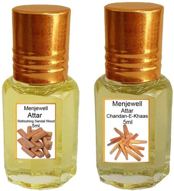 Menjewell Pack of The Refreshing Sandal wood 5ml & The Chandan-E-Khaas 5ml Natural Itra/Attar/ Perfume Floral Attar