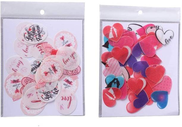 TastyCrafts Pre-Cut Wafer Paper | Edible | Stick-on Cake décor | Combo of I Love You & Hearts Topper