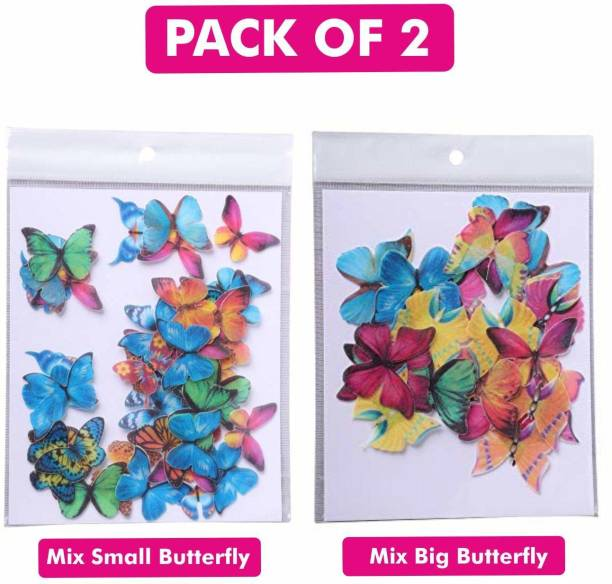 TastyCrafts Edible Pre-Cut Wafer Paper | Edible | Stick-on Cake décor | Combo of Mix Small & Mix Big Butterfly | Pack of 2 Topper