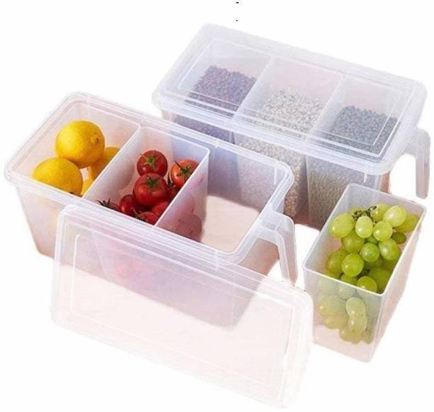 Asta Unbreakable Plastic Transparent Square Handle Food Storage Organizer Boxes/Container with Lids and 3 mini container for fridge (2 Big container - 6 mini container with lid)  - 1000 ml Plastic Fridge Container