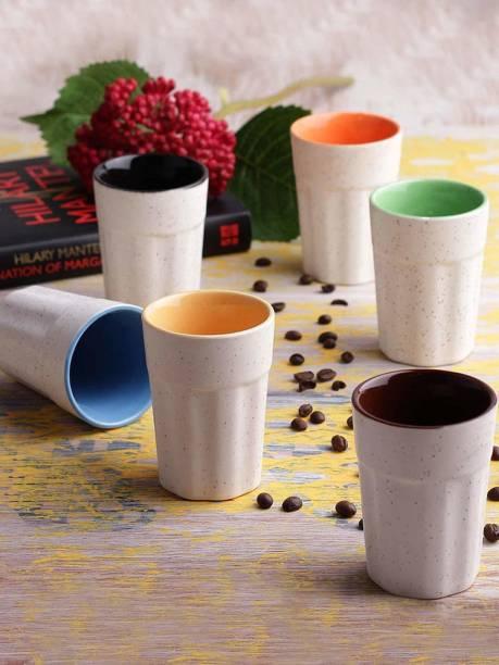 B2R Pack of 6 Bone China, Ceramic Handcrafted White Matte Tumbler Ceramic Cutting Chai Glasses - Set of 6 | Tea Glasses | Chai Kullad | Kullad Tea Cups